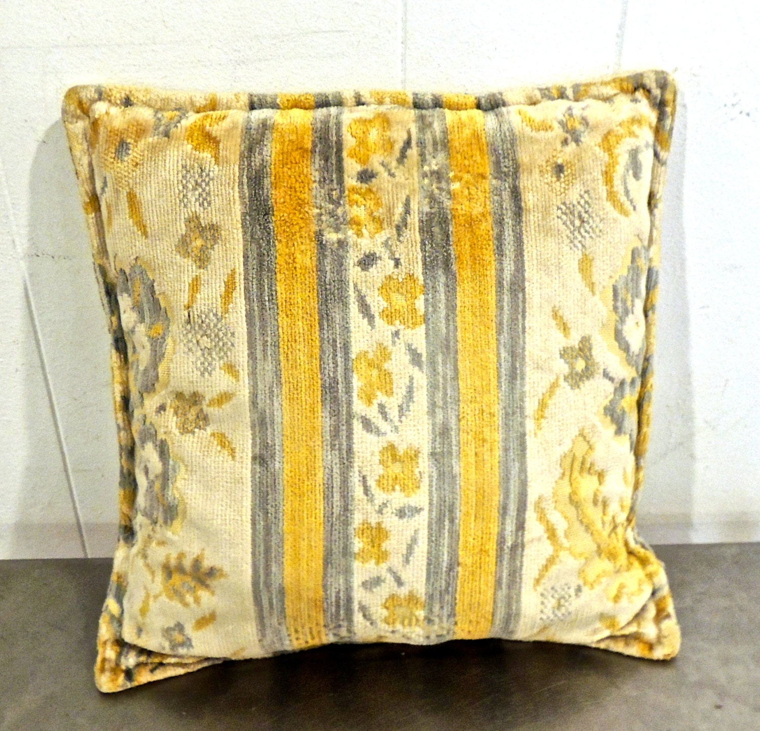 Mid Century Throw Pillow : vintage velvet throw pillows 1960s mid century yellow/grey