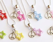 Pool Party Peace Sign Party Favor Necklace 10 Party Favor Mixed Colors Necklaces