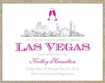Las Vegas Silver Glitter Bachelorette, 25 any occasion invitations with matching envelopes with return address printing