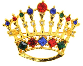 Golden Crystal Crown Pin Brooch 1004552