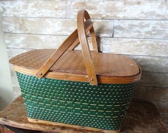 Vintage Green Picnic Basket