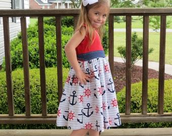 Nautical Dress, Girls Knit Tank Dress, Toddler Girl, Sundress, Anchor Dress