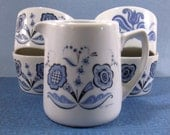 Berggren Swedish Creamer and Sugar Bowls - Blue Rosmaling Flowers - Swedish Porcelain Set - Converged Commodities epsteam vestiesteam