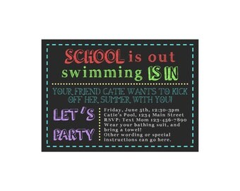 School is Out Swimming is In Summer Pool Party Invitation