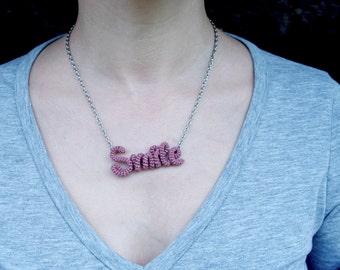 Smile Necklace Word Pendant, Inspirational Friendship Necklace, Marsala Smile Pendant, Handwriting Jewelry, Handwritten Pendant Necklace