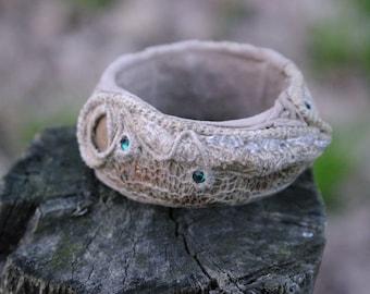 Unique Fiber Art Linen Mesh Bracelet Bohemian Mixed Media OOAK Wide Artsy Bangle