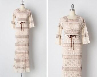 vintage 1970s crochet dress / 70s wedding dress / 1970s crochet dress / Yucatan Wedding dress