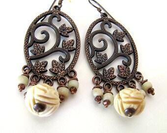 ROSES in the SNOW rustic white rose earrings copper jewelry roses unique earrings winter jewelry unusual jewelry chandelier earrings