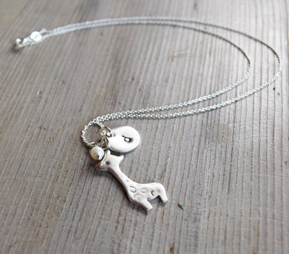 Personalized giraffe sterling silver pendant necklace with freshwater pearl, baby shower gift