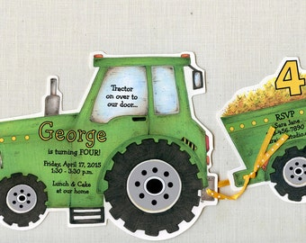 Personalized - Green - Tractor - Birthday - Party - Invitations - Vehicle - Birthday Party Invitations - Tractor Birthday - Set of 15
