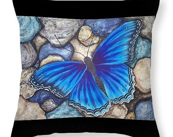 Blue Butterfly Pillow of Watercolor Painting- Home Decor Gifts for Butterfly Lovers or Collectors  Decoration Pillow and Cover
