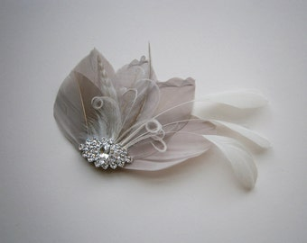Ivory, feather, gray, grey, Weddings, hair, accessory, facinator, Bridal, Fascinators, Bride, veil - Gorgeous Gray
