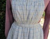 Handmade white and blue plaid pinner apron, pockets, gathered bib