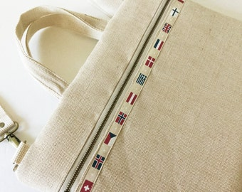 Laptop bag with zipper pocket and detachable shoulder strap  -cotton linen canvas -Ready to ship
