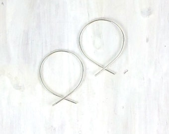 Sterling Silver Pull Through Earring, Fish Hoop