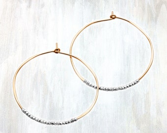 Thin Gold and Silver Beaded Hoop Earring, Duality Hoop