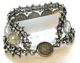 Indian Silver Bracelet, Indian Armlet,Vintage Indian Bracelet, Ethnic Tribal, Silver Bazuband, Rupee Coins, Maharashtra, India, 62.6 Grams