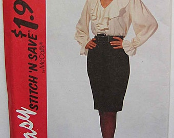 RARE Stitch 'n Save McCalls 7213 Sewing Pattern Easy Misses' Ruffle Blouse and Skirt UNCUT Sizes 8, 10, 12, 14