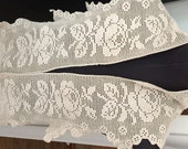Handmade Crochet Edging Trim / Upcycle to Shawl / Prom / Bridal / Hem Edging / Hem Trim / shelf Edging / Shabby Chic Trim / Cabbage Roses
