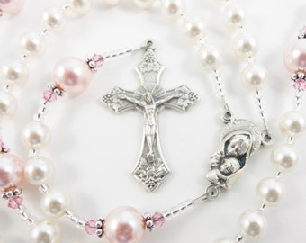 Personalized Rosary in White and Pink Swarovski Pearl - Gift for a Baby Girl - Baptism, First Communion, Confirmation