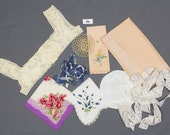 9 pieces Destash tatted ruffled small basket Beaded fringe Silk scarf Lingerie lace Round sachet pillow Girls croched dress yoke 3 hankies