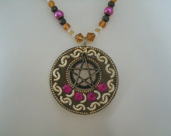 Sun Solstice Pentacle Necklace, wiccan jewelry pagan jewelry wicca jewelry goddess pentagram witchcraft witch metaphysical magic handfasting