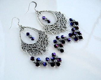 Purple Crystal Chandelier Earrings Purple Crystal Filigree Earrings Purple Earrings