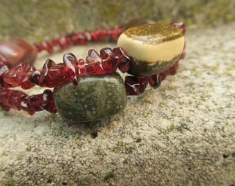 Breathe, Healing Stones Bracelet, Ocean Jasper and Garnet Bracelet, Memory Wire Gemstone Synergy Bracelet