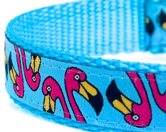Flamingo Dog Collar, Pink Flamingo on Blue Background, Adjustable Pet Collar