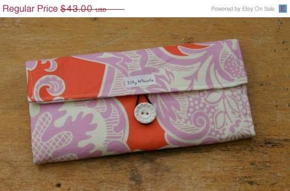 Sale Fabric Wallet Coral and Lilac With Zipper Pocket, Girls Wallet - Ready to Ship