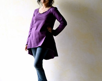 Women blouse, long sleeve top, winter top, purple top, high low top, swallowtail top, cotton top, long top tunic top, party top, maternity