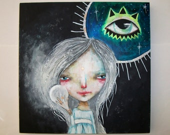 folk art Original magical girl painting whimsical mixed media art painting on wood canvas 10x10 inches - Prophecy