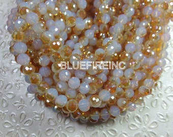 72 pcs beads 26.5 inch long faceted  round 8mm milk and orange color