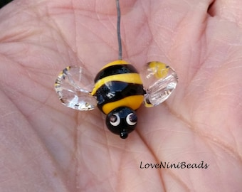 Bee Head Pin ~ Garden Floral Design ~ Glass Fairy Garden