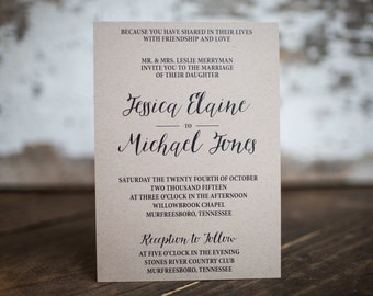 Wedding Invitations, Kraft Invitation, Formal Rustic Invitation -Modern Classic (Kraft) Wedding Suite : A7 Wedding Invitations