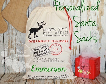 Personalized Santa Sack - Custom Name Christmas Gift Bag