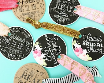 Custom Personalized Hair Tie KIT and Card Sh!t just got real Tying the Knot Cardstock and Black and White Print One Hair Tie and One Card