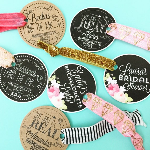 Personalized Round Card Bachelorette Party Favor Hair Ties