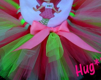 Mod Strawberrry Shortcake tutu in Pinks and lime green  (Tutu only)
