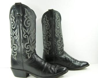 Justin cowboy boots womens 10 M black leather western men's 8.5 E