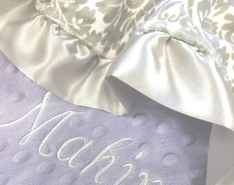 Gray and Lavender Damask Minky Baby Blanket with Pink Satin Ruffle Trim, Grey and White Damask Minky Blanket