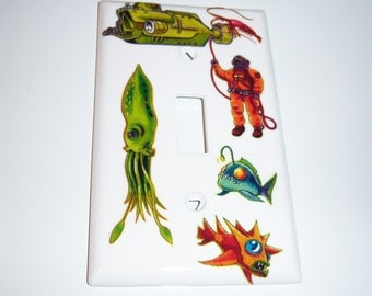 Deep Sea Exploration Single Lightswitch Cover, Boys Room, Birthday Gift, Submarine, Diver, Octupus, Sea Monsters