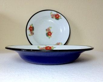 Vintage 1960s French Enamel Soup Salad Pasta Bowls Blue White Floral
