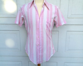 Pointed Collar Pink Striped Short Sleeve Button Up Shirt Tapered Cotton Small 14 1/2 Men
