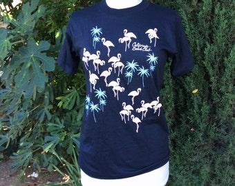 Black Tee Puffy Pink Flamingos Turquoise Palm Trees 80s Vintage California Beach Club Black Short Sleeve TShirt Tee Small Medium Men Women