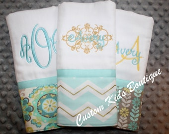 Light Blue/Mint Chevron and Floral Baby Girl Burp Cloth Gift Set- Set of 3 Custom Monogrammed Burp Cloths