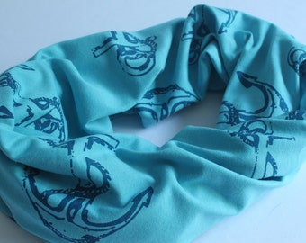 Blue Anchor Summer Scarf, Infinity Scarf, 100% Organic Cotton Jersey, Circle Scarf, Anchors, Nautical, Screen Printed, Made in Canada