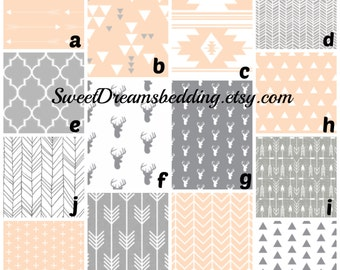 Custom Crib Bedding You Design   Grey and Blush