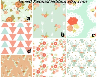 Custom Crib Bedding You Design   Mint Deer and Floral
