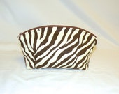XL Domed Make-Up Bag in Chocolate Brown and Cream Zebra Print